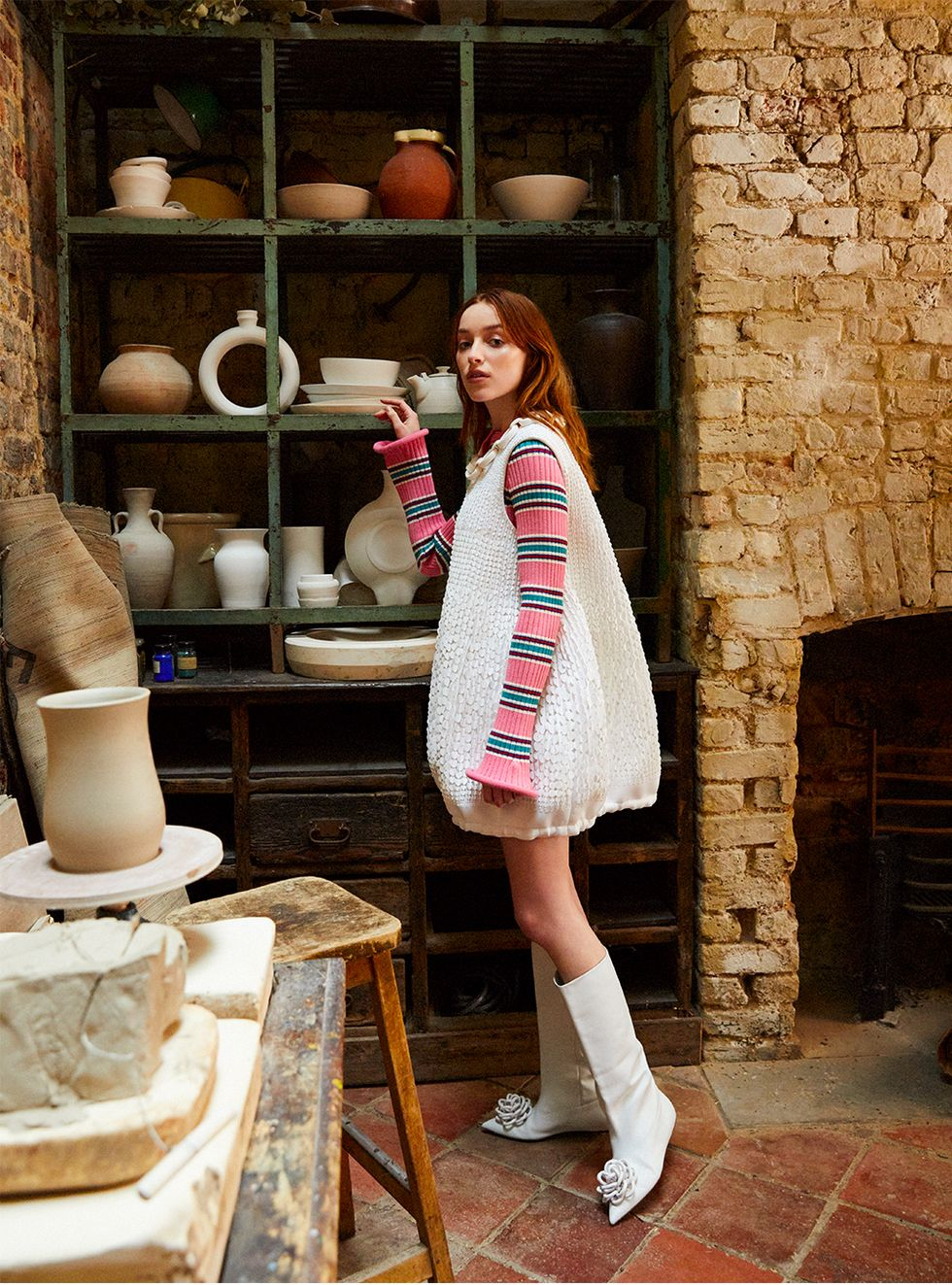 Embroidered wool dress, knitted cardigan, leather boots, all Louis Vuitton