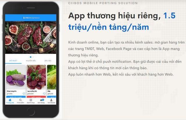 Combo App bán hàng iphone + android + web bán hàng giá rẻ 2021