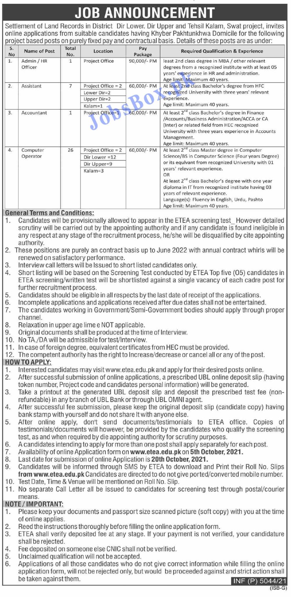 Revenue and Estate Department KPK Jobs 2021 – Apply at etea.edu.pk