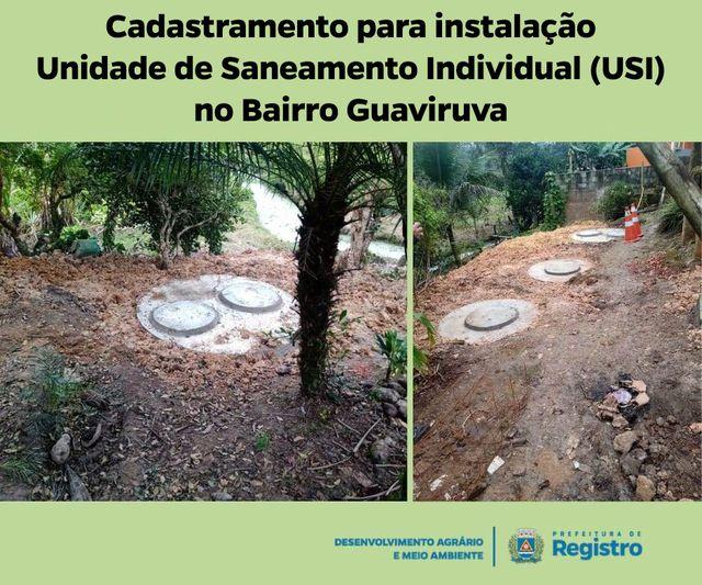 Cadastramento para instalação de Unidade de Saneamento Individual USI no Guaviruva