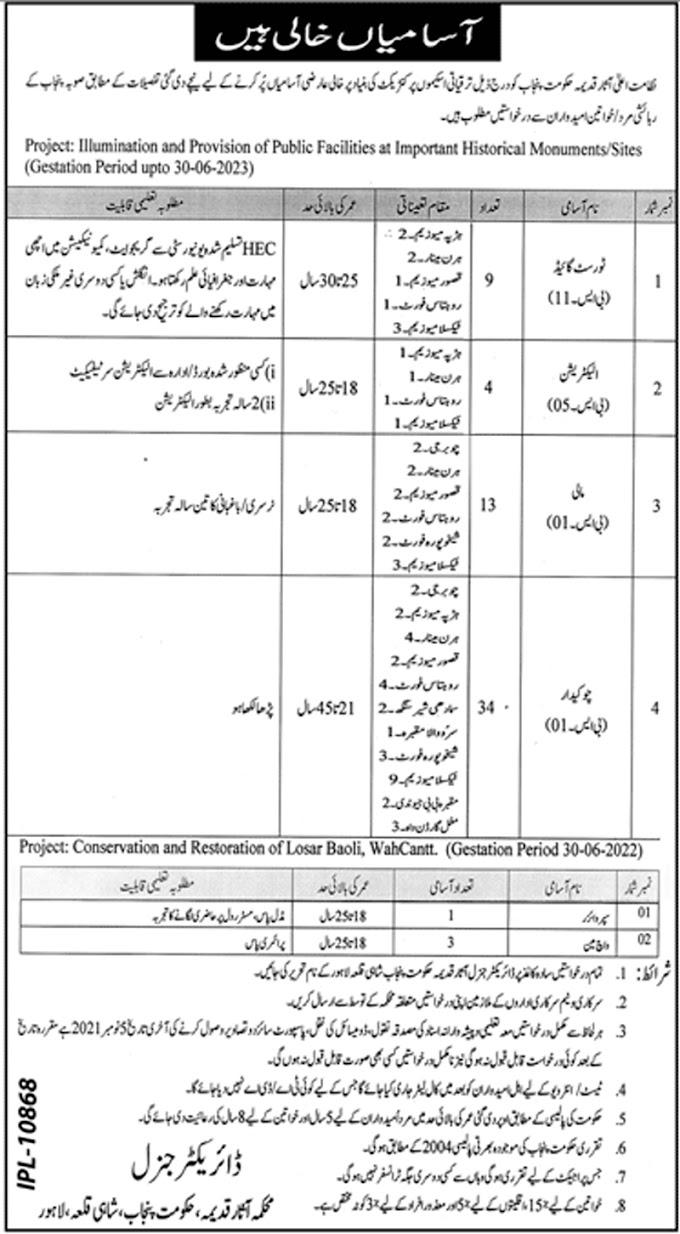 Archaeology Department Punjab Jobs 2021