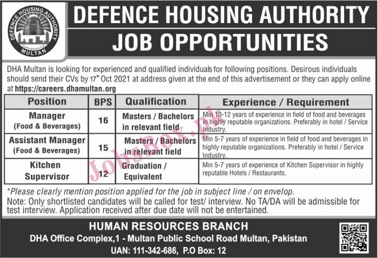 https://careers.dhamultan.org - DHA Defence Housing Authority Multan Jobs 2021 in Pakistan