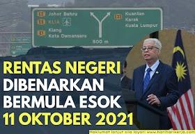Rentas Negeri Dibenarkan Bermula Esok 11 Oktober 2021