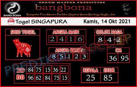Prediksi Bangbona SGP Kamis 14 Oktober 2021