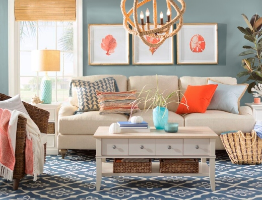 Orange Living Room Design Decor Ideas Coastal Seaside Theme