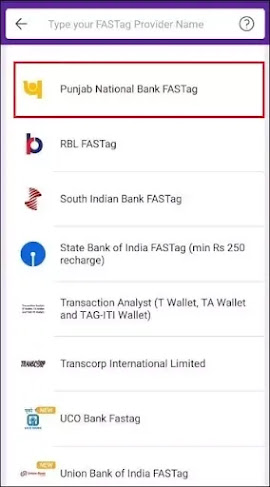 Select your Fastag provider bank