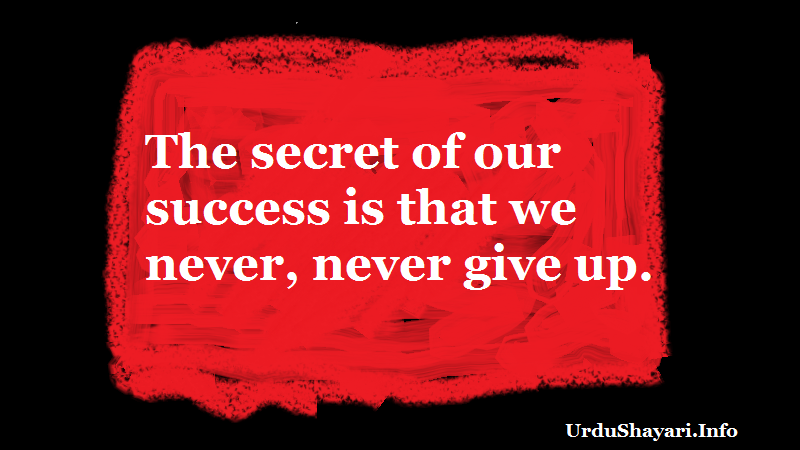 The secret of our success is that we never, never give up. life changing morning quotes