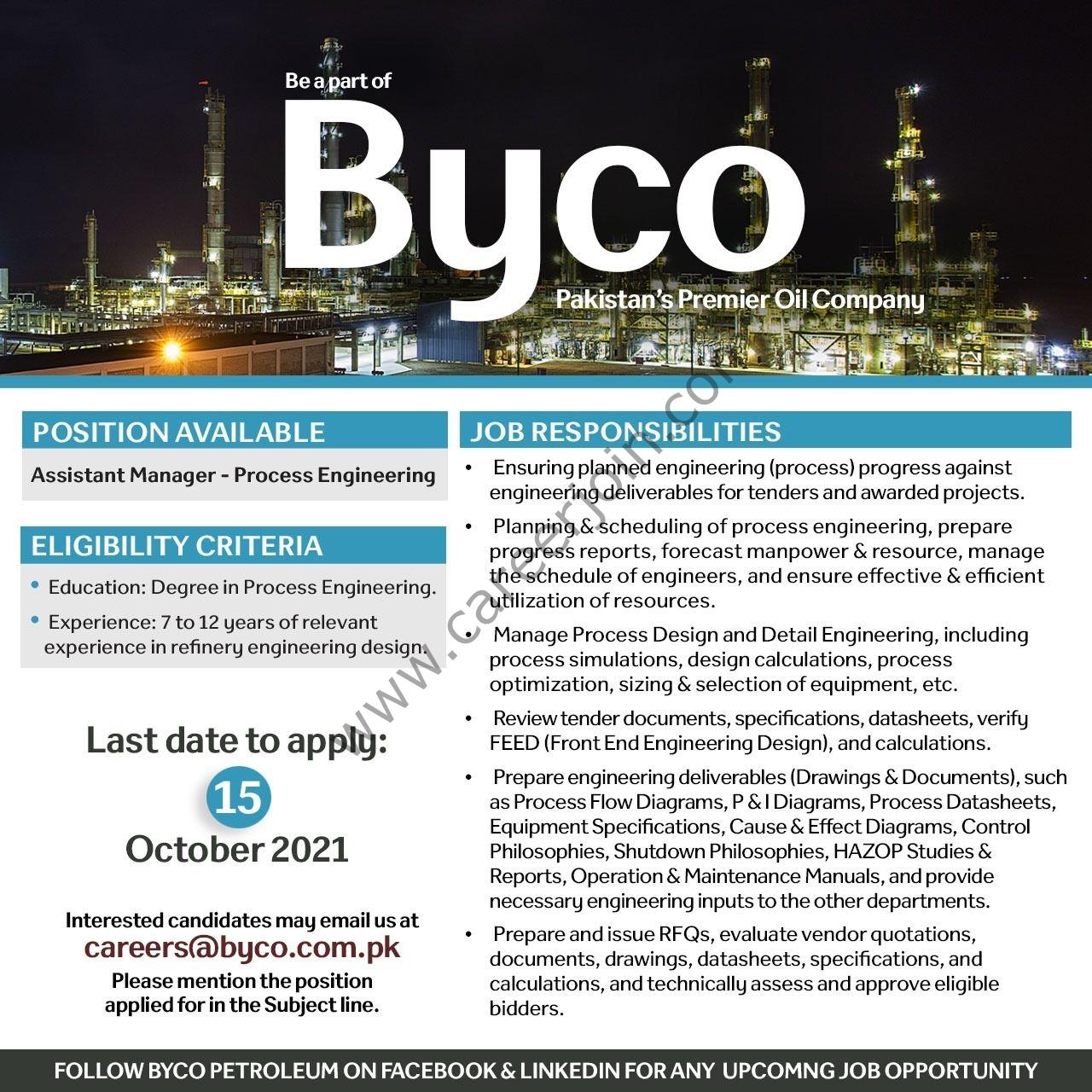 Byco Petroleum Pakistan Ltd Jobs October 2021