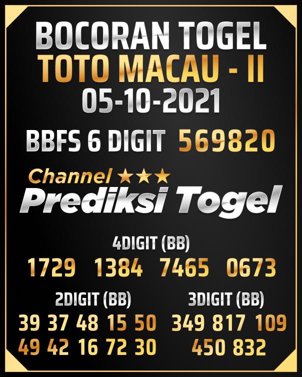 Angka Jitu Toto Macau P2