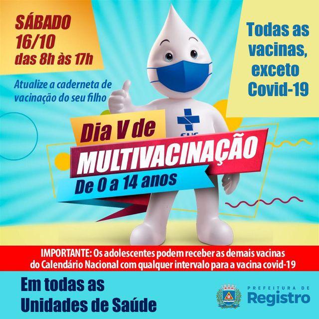 Secretaria de Saúde realiza Dia V de Multivacinação neste 16/10 em Registro-SP