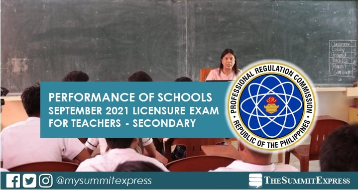 September 2021 LET Result: Performance of schools Secondary