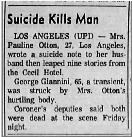 Suicide kills Man - Cecil hotel