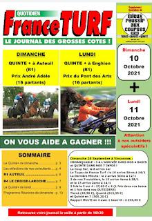 quinté+ Pronostic quinté dimanche 10/10/2021