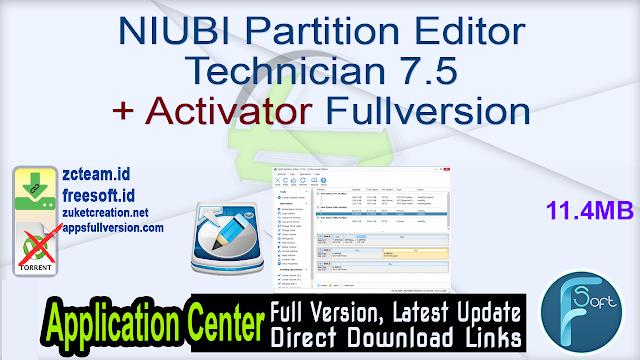 NIUBI Partition Editor Technician 7.5 + Activator Fullversion