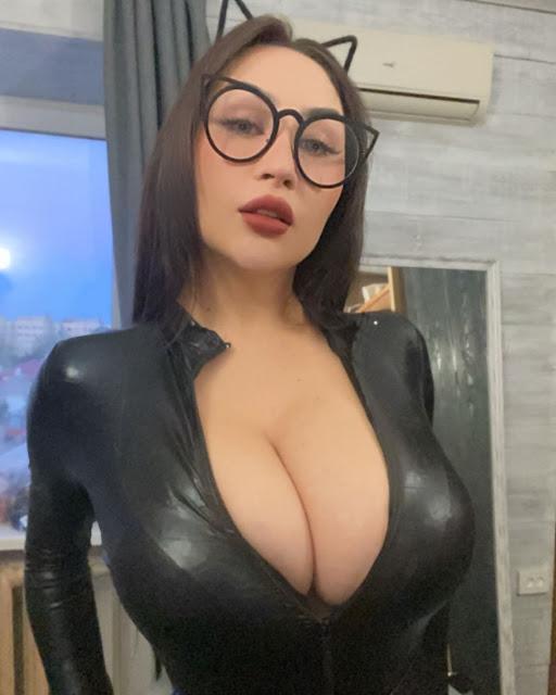 Louisa Khovanski in a Black Cat Suit OnlyFans Video Leak
