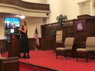 Lauren Groff giving a talk