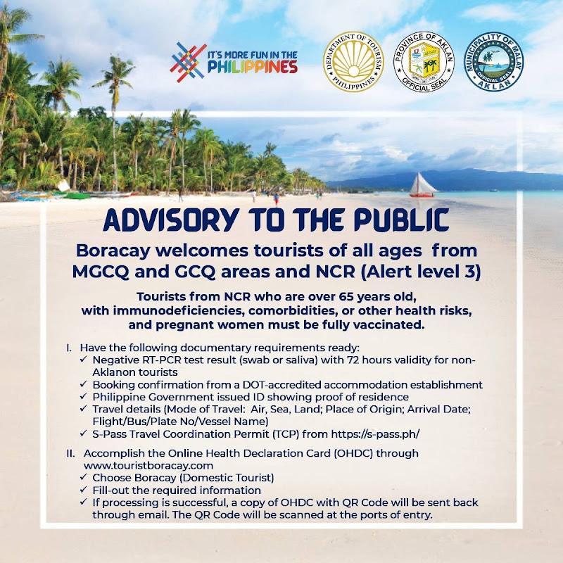 Boracay Travel Requirements NCR Alert Level 3 October 2021