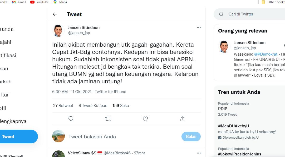 Jokowi Dianggap Ingkar Usai Beralih Pakai APBN di Proyek Kereta Cepat, Demokrat: Ya Begini Kalau Membangun untuk Gagah-gagahan..!!