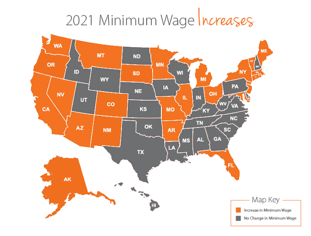 الولايات الأمريكية التي تغيرت في الحد الأدنى للأجور في عام 2021