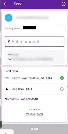 Enter amount and click on send