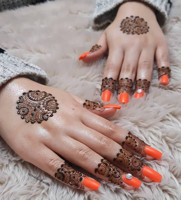simple and easy mehndi design for karva chauth