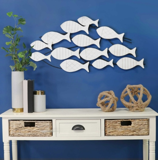 Distressed Wooden School of Fish Wall Decor Art on Metal Frame