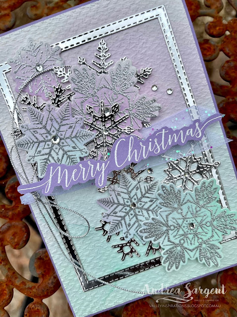 This card brings Christmas wishes for a beautiful season, by Andrea Sargent, Australia.