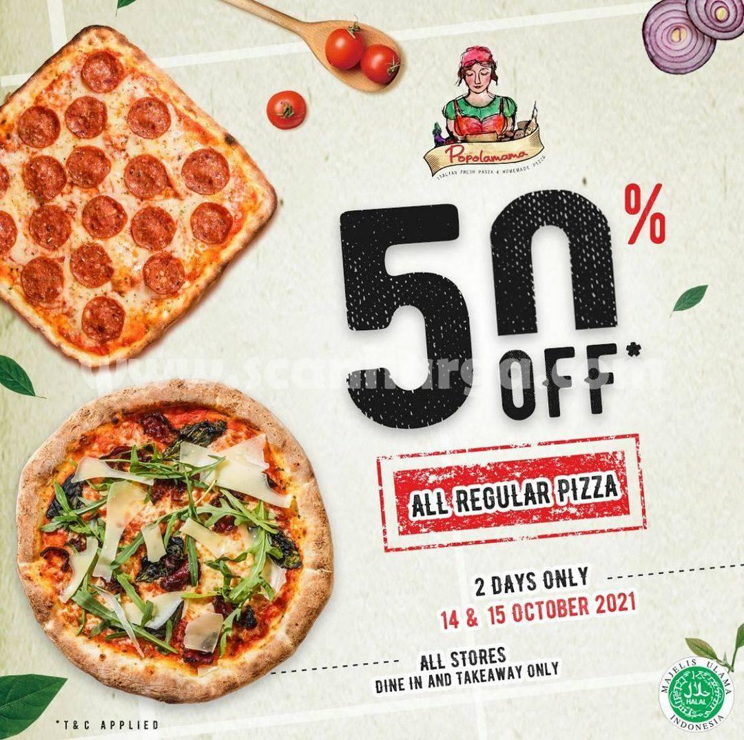 Promo Popolamama Discount 50% Off* All Regular Pizza