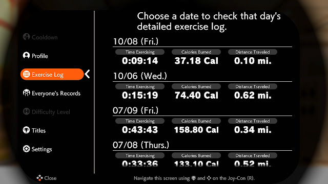 Ring Fit Adventure World Week 47 Fitness Master Lv. 286 Exercise Log