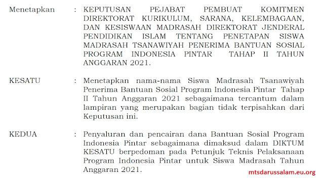 SK Dan Lampiran Penerima PIP 2021 Tahap 2 Jenjang MTs Jawa Timur