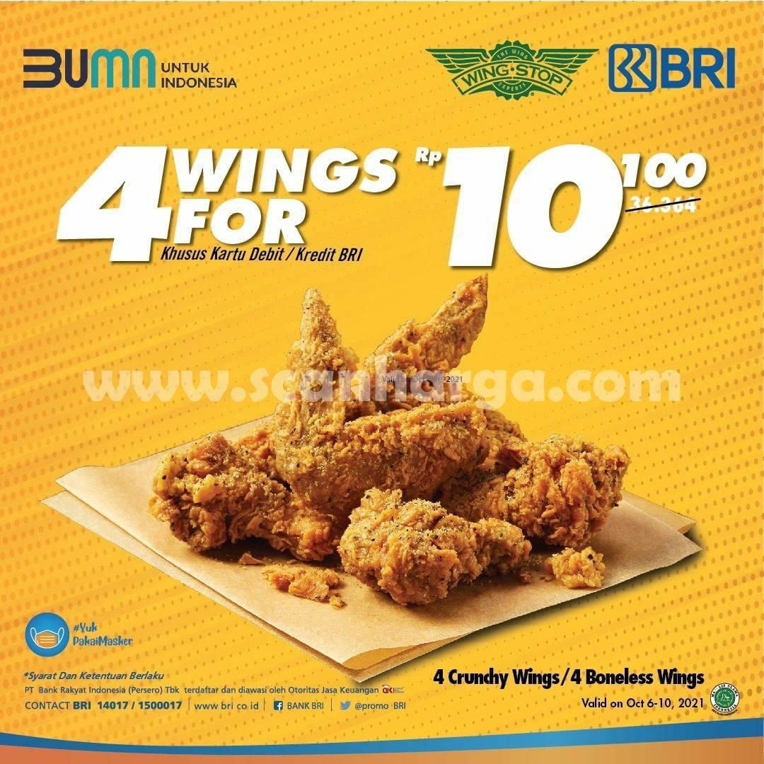 Promo Wingstop 4 Wings hanya Rp. 10.000 dengan Debit /Kartu Kredit BRI