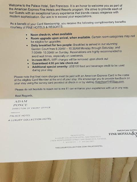 American Express Fine Hotels & Resorts Benefits at Palace Hotel San Francisco