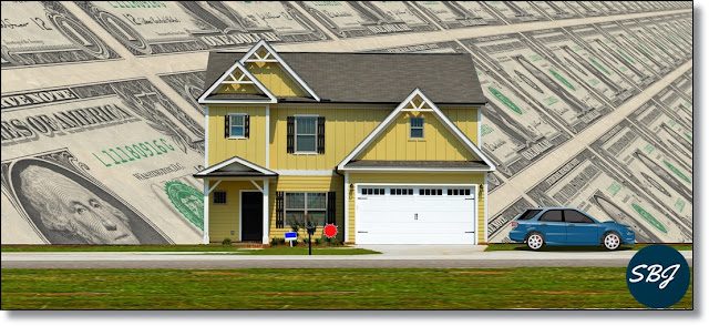 karikatur rumah mobil dan uang