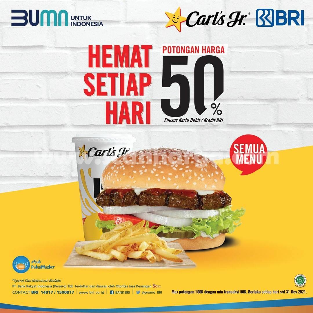 Promo CARLS JR Diskon 50% dengan Kartu Kredit /Debit BRI
