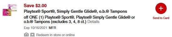 Playtex® Sport, Playtex Simply Gentle Glide or o.b. Tampons CVS APP MFR Digital Coupon (go to CVS App)