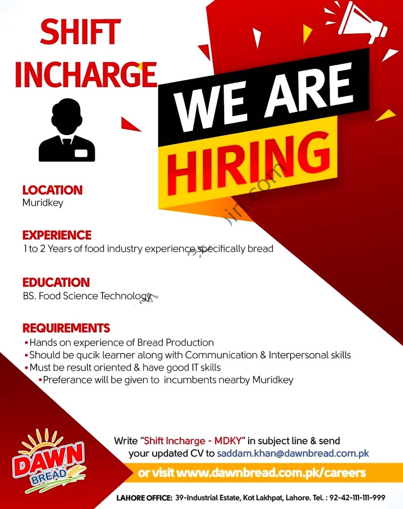 Dawn Bread Latest  Jobs  For Shift Incharge