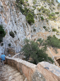 Katholiko Monastery - steps descending into monastery in the gorge.