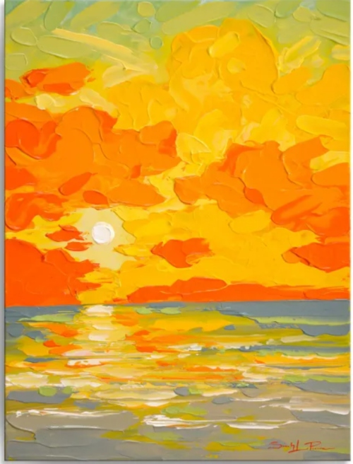 Sunburst Sun Sea Ocean Theme Art