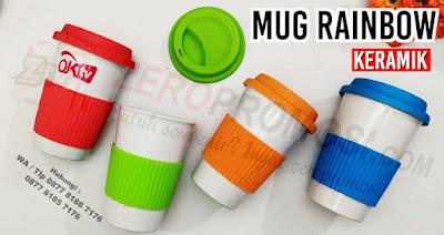 Souvenir mug Keramik rainbow promosi, mug silicone rainbow