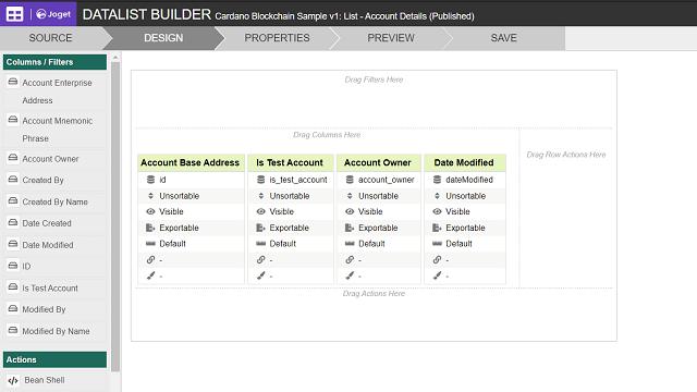 Account Details Datalist Design