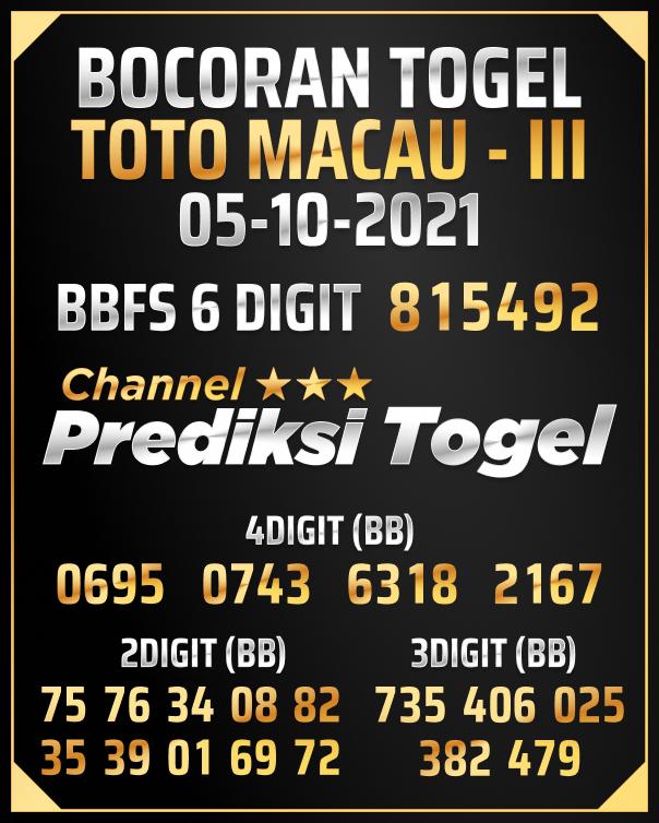 Angka Jitu Toto Macau III