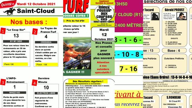 quinté+ Pronostic quinté Mardi 12/10/2021