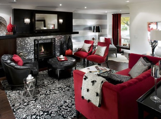 red, black and white living room decorating ideas