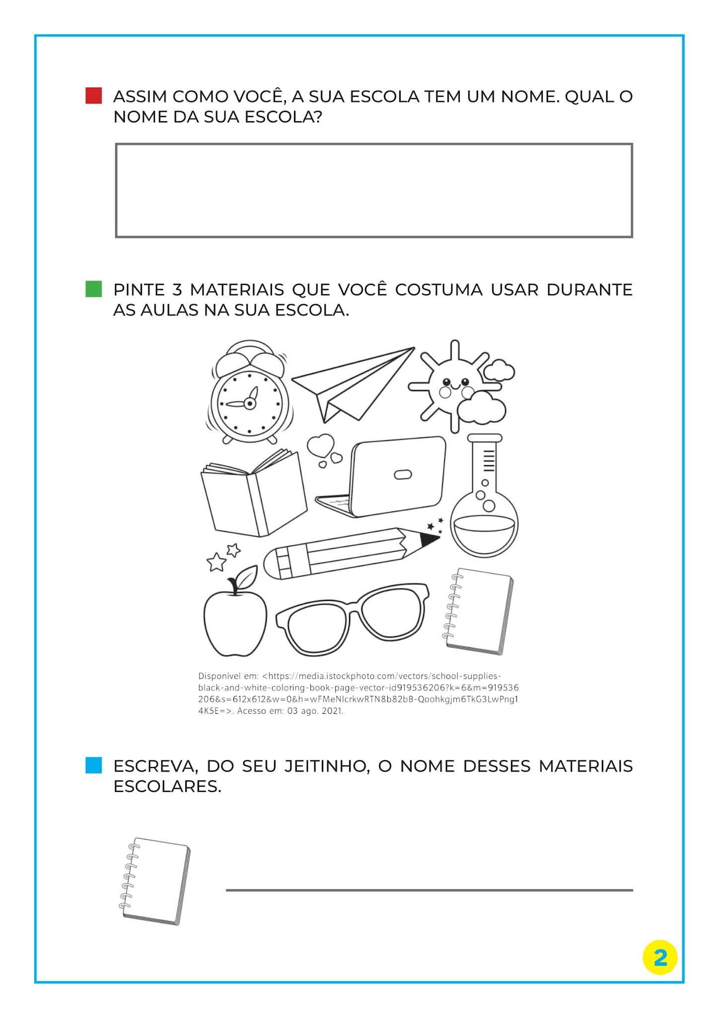 Atividade noções de quantidade, o dia do estudante e materiais escolar para imprimir