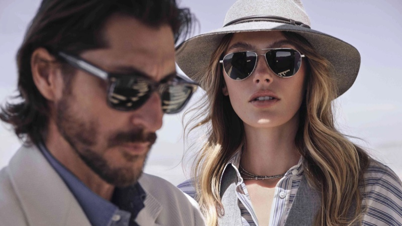 Oliver Sun and Disoriano sunglasses featured in Brunello Cucinelli x Oliver Peoples eyewear campaign.