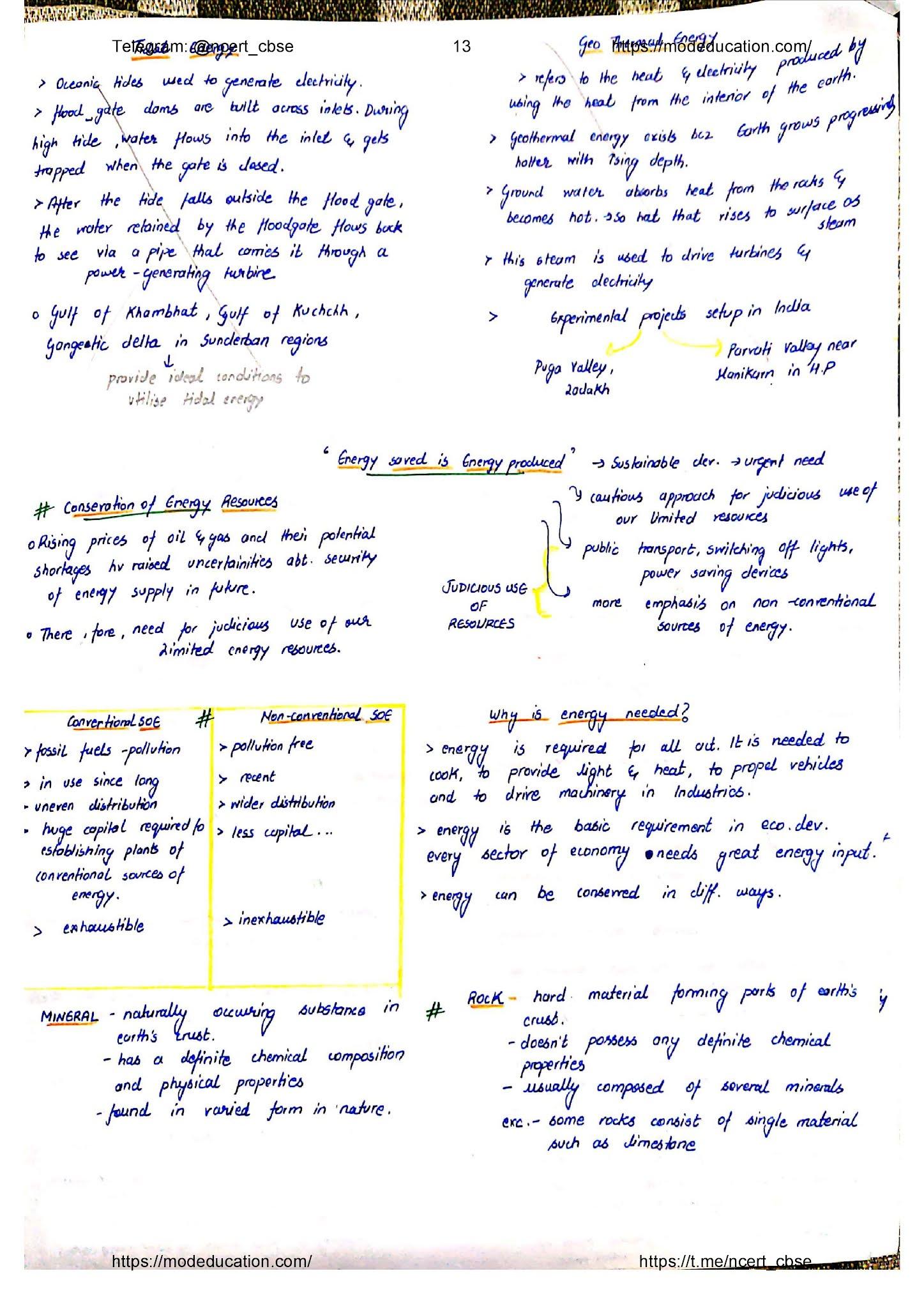 Class 10 Geography Handwritten Notes, class 10 geography chapter 6 handwritten notes