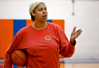 Picture of Cheryl Mille holding basketball