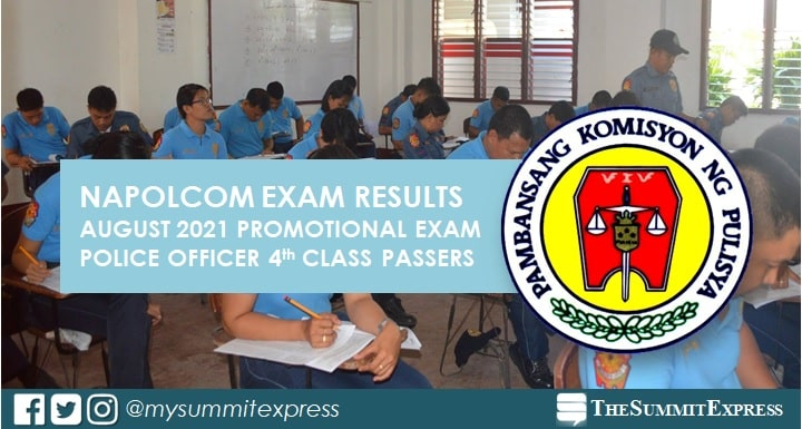 LIST OF PASSERS: Police Officer 4th Class NAPOLCOM Exam Result August 2021