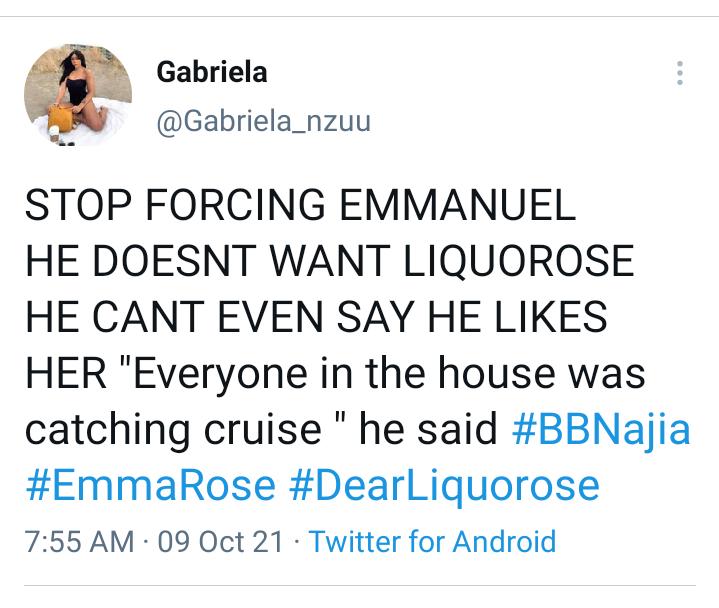 BBNaija: Stop forcing Emmanuel, he doesn't like Liquorose - Lady warns Liquorose's fans