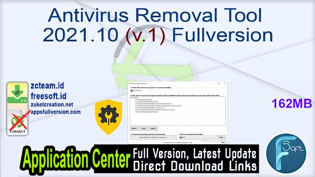 Antivirus Removal Tool 2021.10 (v.1) Fullversion